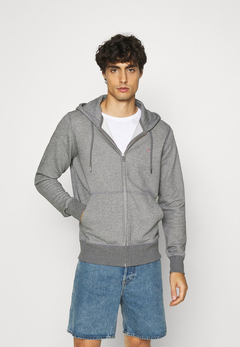 GANT - THE ORIGINAL FULL ZIP HOODIE - Zip-up hoodie - dark grey