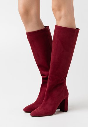 High heeled boots - bordo