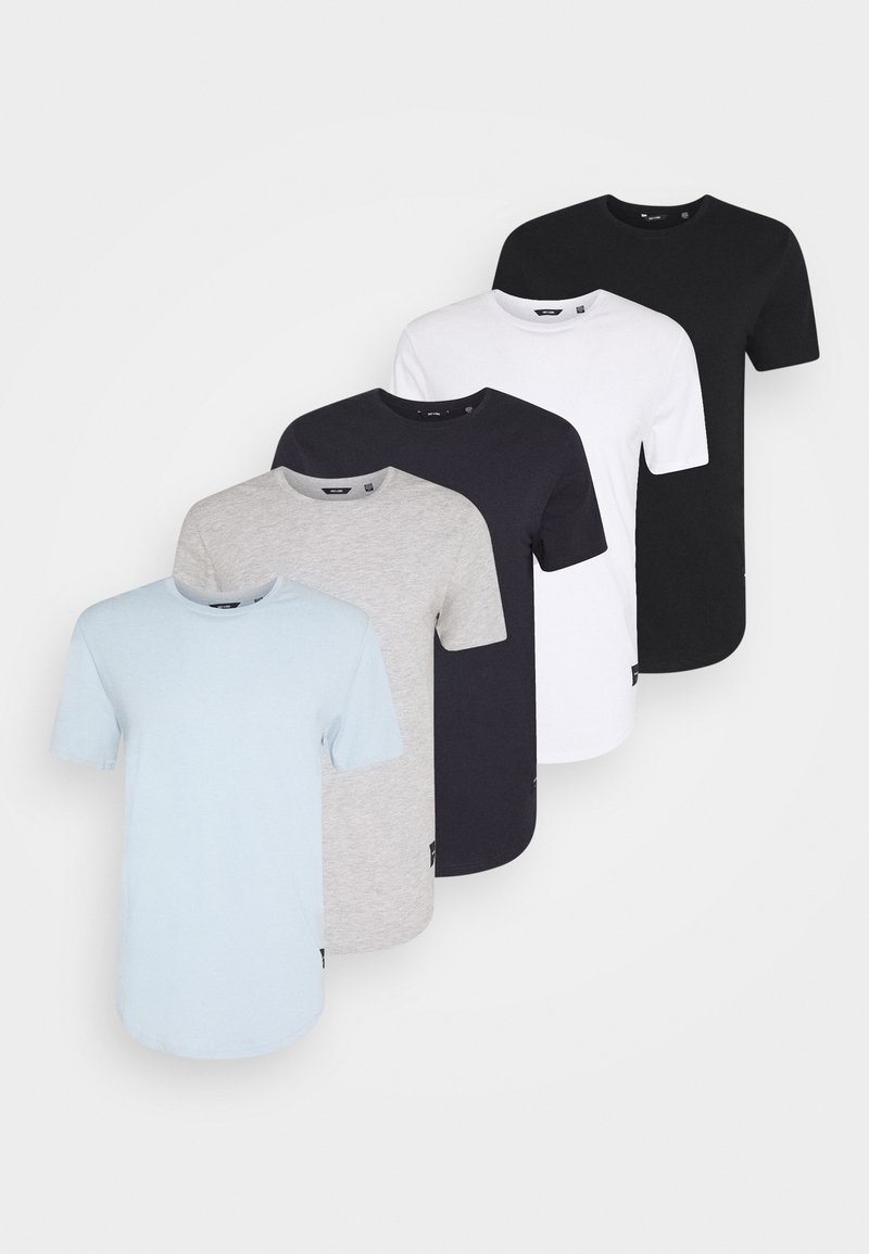 Only & Sons - MATT 5 PACK - T-shirt - bas - white/black/light grey/light blue/dark blue