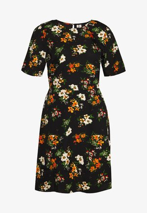 PCMALENE DRESS - Kjole - black/orange