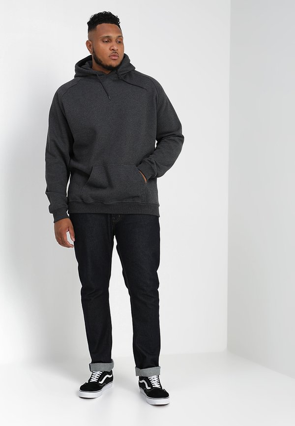 Urban Classics BLANK HOODY - Bluza z kapturem - dark grey/ciemnoszary melanż Odzież Męska YXVY