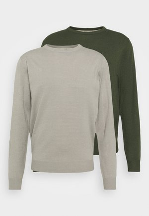 CREW NECK 2 PACK - Trui - grey/dark green