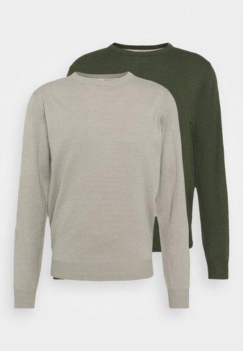 CREW NECK 2 PACK - Maglione - grey/dark green