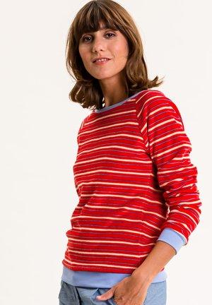 Sweatshirt - rot mit bunten streifen