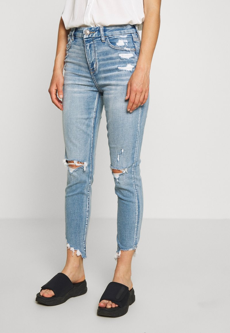American Eagle - CURVY HI-RISE CROP - Jeans Skinny Fit - destroyed bright