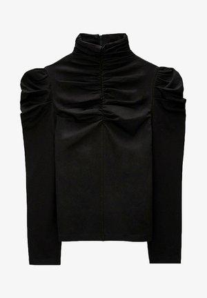MIT RAFFUNGEN VORN - Long sleeved top - black