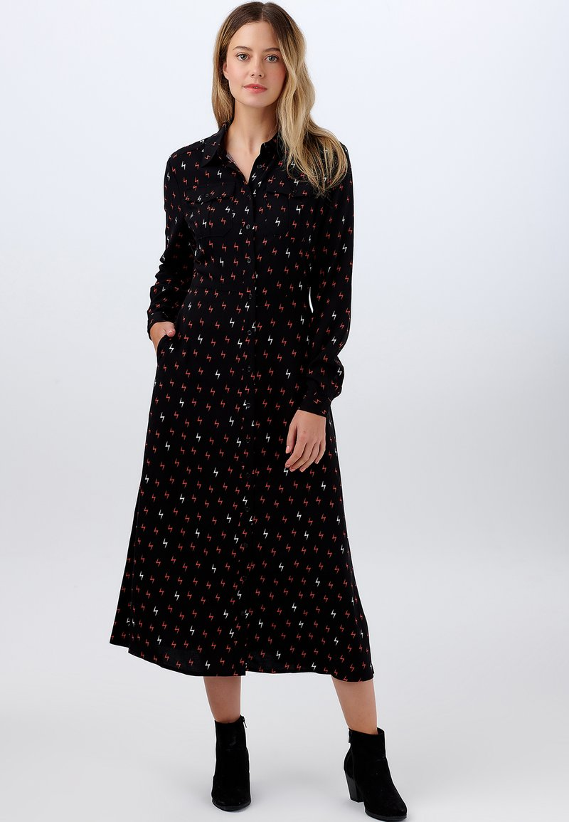 Sugarhill Brighton - SHIRT SERENA AUTUMN STORM - Shirt dress - black