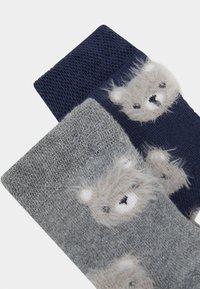 Ewers - BABY SOCKS TERRY BEAR 2 PACK - Socks - tinte/grau melange - 1