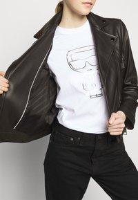 KARL LAGERFELD - IKONIK  BIKER JACKET - Leather jacket - black - 4