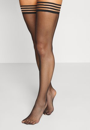 PRIVATE STRIPED TOP FISHNET - Over-the-knee socks - black