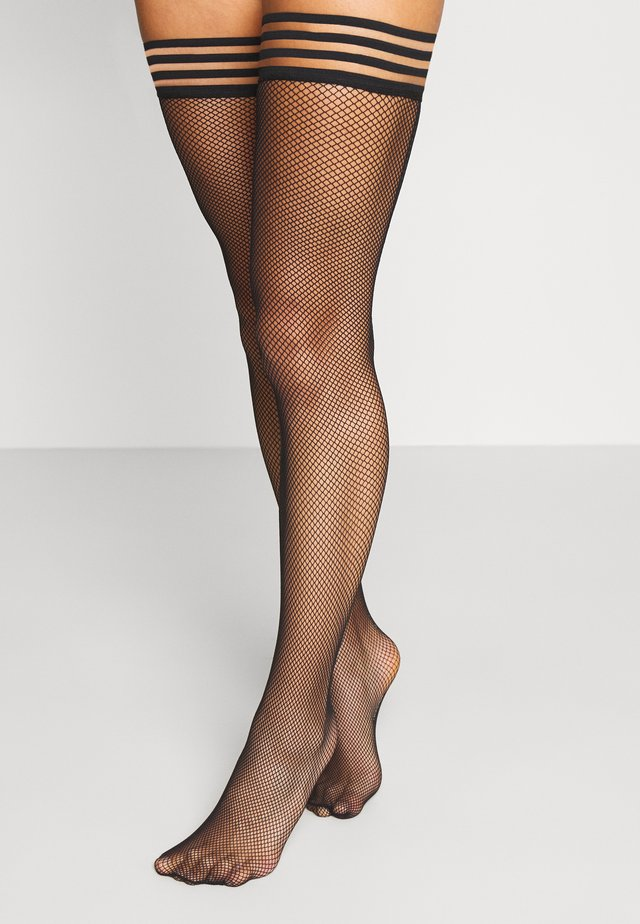 PRIVATE STRIPED TOP FISHNET - Overkneestrümpfe - black