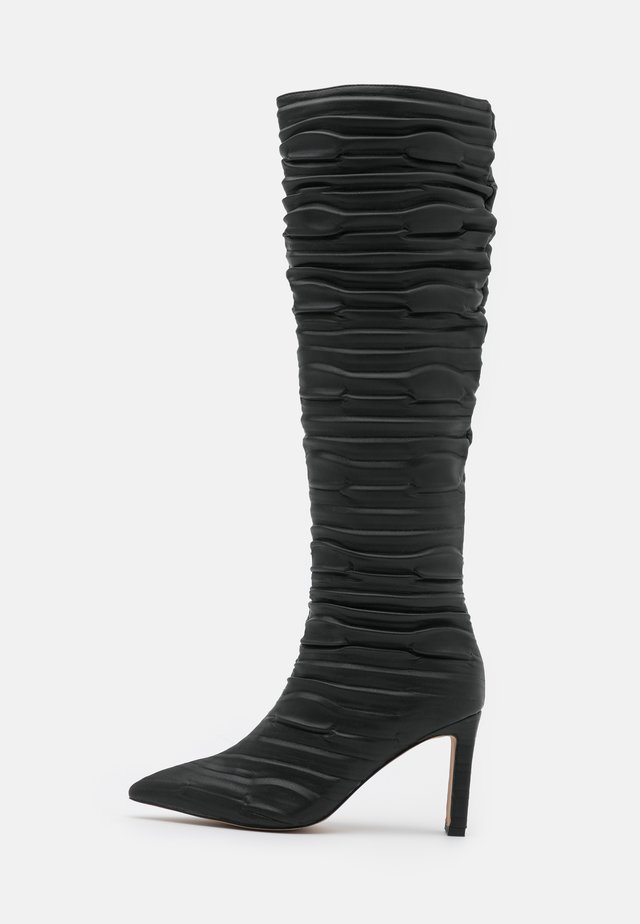 SLOUCHY STRUCTURED SHAFT BOOTS - Klassiska stövlar - black