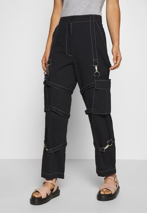 PANT WITH TRIGGERS - Kangashousut - black