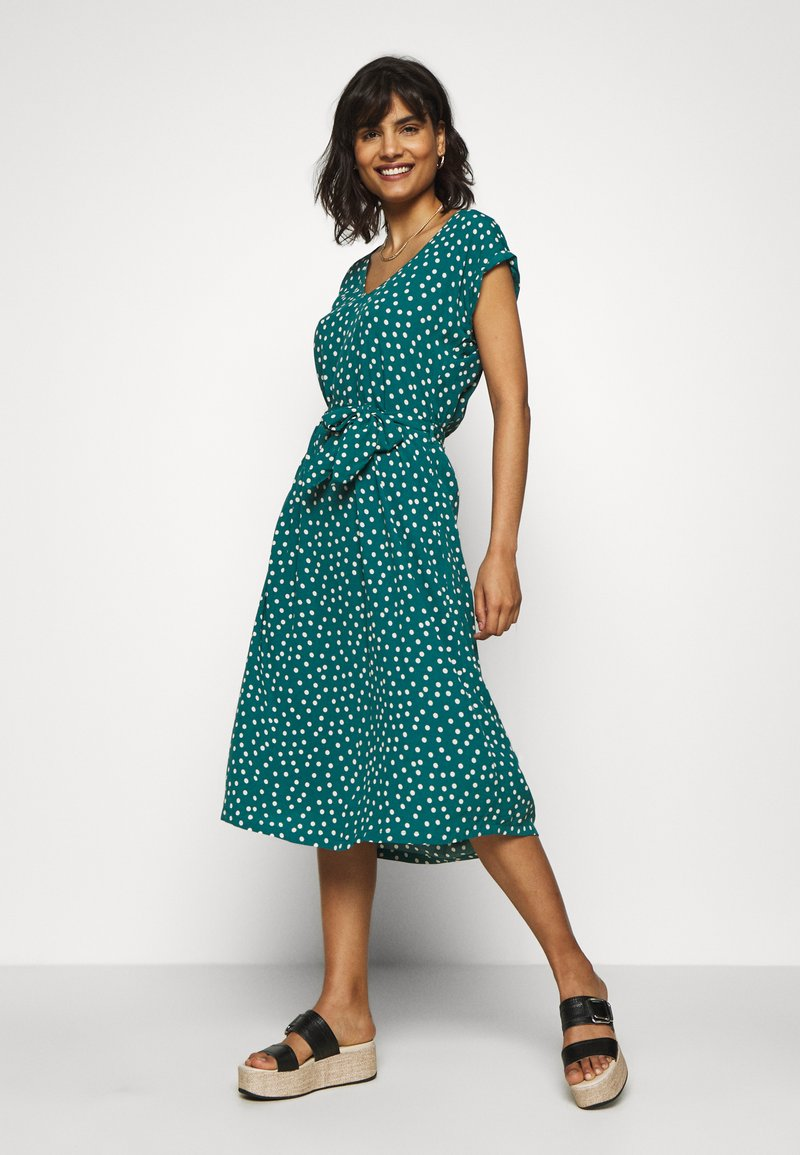 King Louie - VERA LOOSE FIT DRESS DOMINO DOT - Day dress - antique green