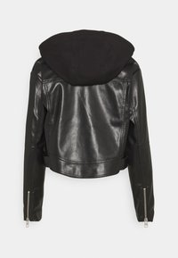 Calvin Klein Jeans - BIKER HOODED JACKET - Faux leather jacket - black - 1