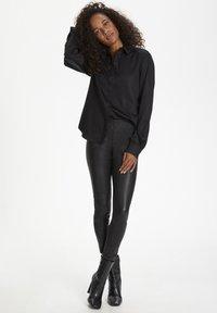 Karen by Simonsen - Leather trousers - meteorite black - 1