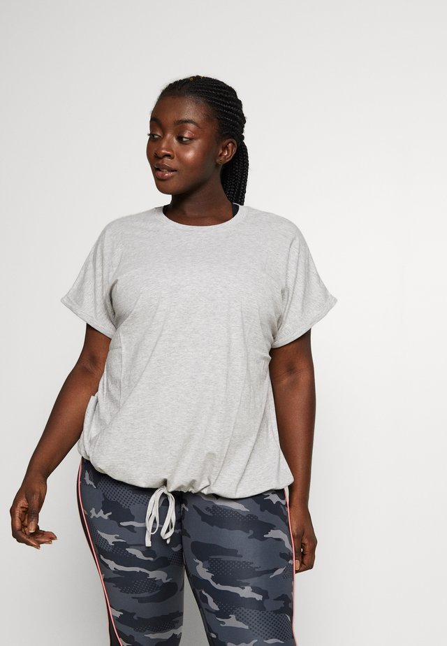 T-shirt con stampa - mottled grey/light yellow