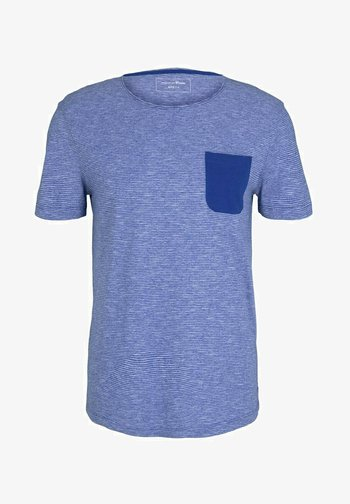 Print T-shirt - shiny royal yd mini stripe