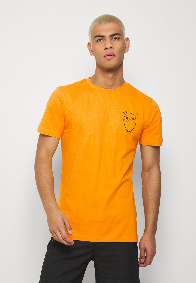 Knowledge Cotton Apparel - WITH OWL CHEST LOGO  - Print T-shirt - yellow