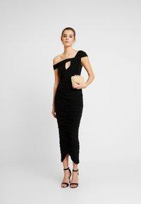 Club L London - DRAPE WRAP BODYSUIT - Print T-shirt - black - 1