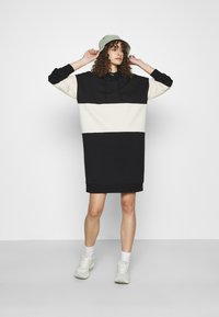 ONLY - ONLDREAMER COLOR BLOCK HOOD DRESS - Day dress - black/birch - 1