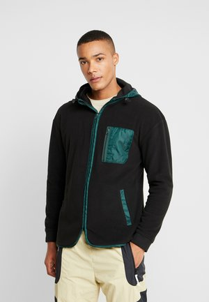 CONTRAST POLAR ZIP HOODY - Fleecová bunda - black