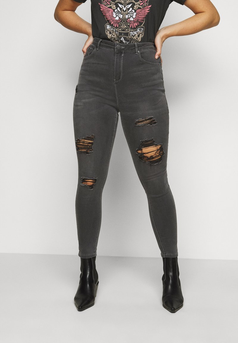 Simply Be - WASH SKINNY - Jeans Skinny Fit - grey