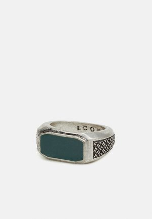 INLAY WITH WOVEN TEXTURED SIDES - Ring - silver-coloured