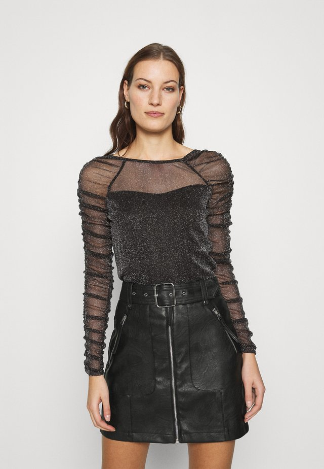 RUCHED SLEEVE GLITTER TOP - Long sleeved top - black