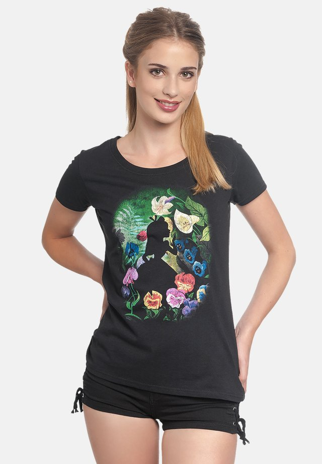 ALICE IN WONDERLAND BLACK FLOWER - Print T-shirt - schwarz