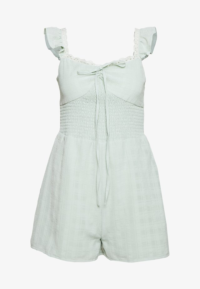 TEXTURED SHIRRED PLAYSUIT - Mono - mint