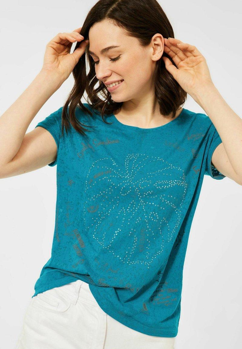 Cecil - MIT BURNOUT-OPTIK - Print T-shirt - blue