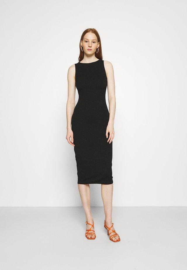 SLEEVELESS BODYCON DRESS - Vestito di maglina - black