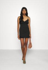 Missguided - WRAP CAMI RUFFLE MINI DRESS - Cocktail dress / Party dress - black - 1