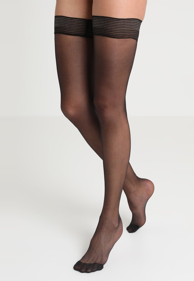 PLAIN LEG PLAIN TOPPED HOLD UPS - Over-the-knee socks - black
