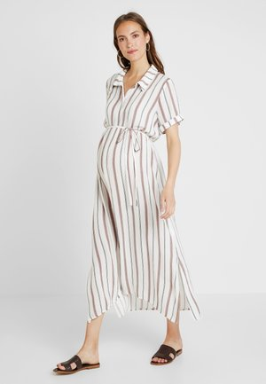 SHORT SLEEVE MIDI DRESS WITH BELT - Blousejurk - white