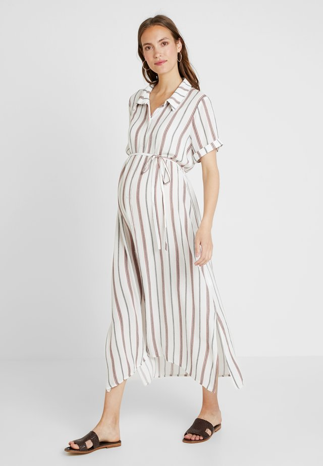 SHORT SLEEVE MIDI DRESS WITH BELT - Shirt dress - white