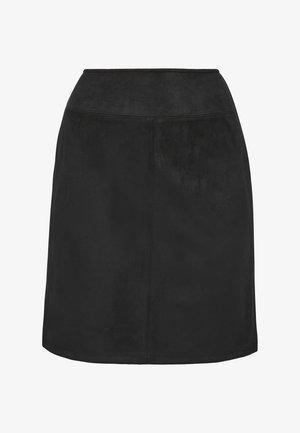 IN VELOURSLEDER OPTIK - A-line skirt - black