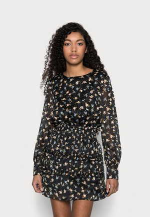 FLORAL SHIRRED WAIST MINI DRESS - Denní šaty - black