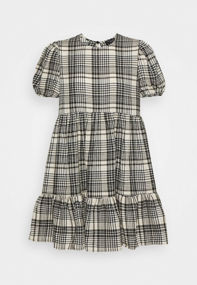 CRINKLE CHECK TIER SMOCK MINI - Day dress - white