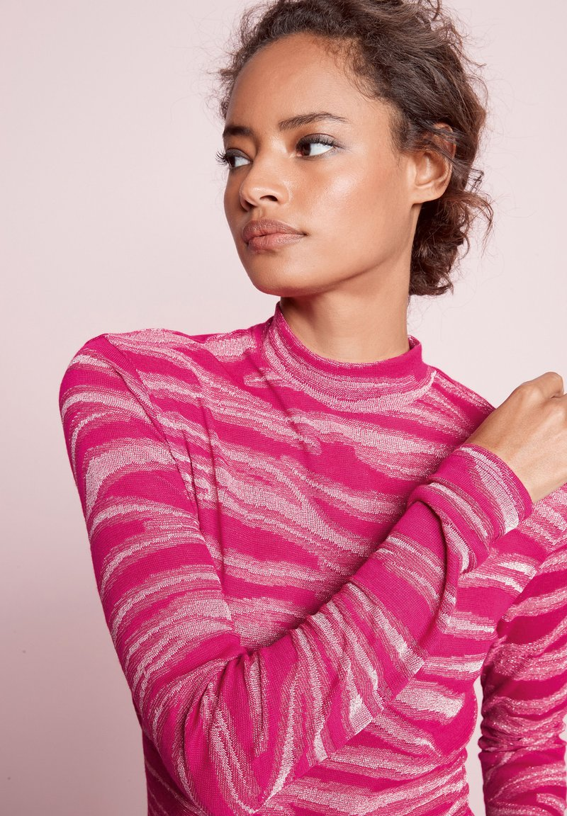 Next - METALLIC ZEBRA - Long sleeved top - pink