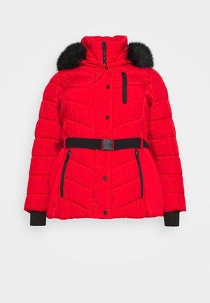 SHORT BELTED - Winter jacket - red
