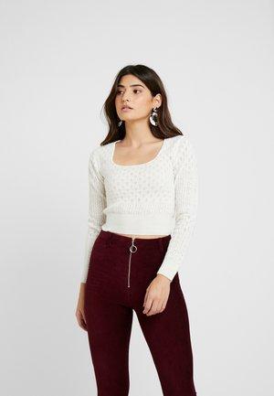 POINTELLE JUMPER - Pullover - white