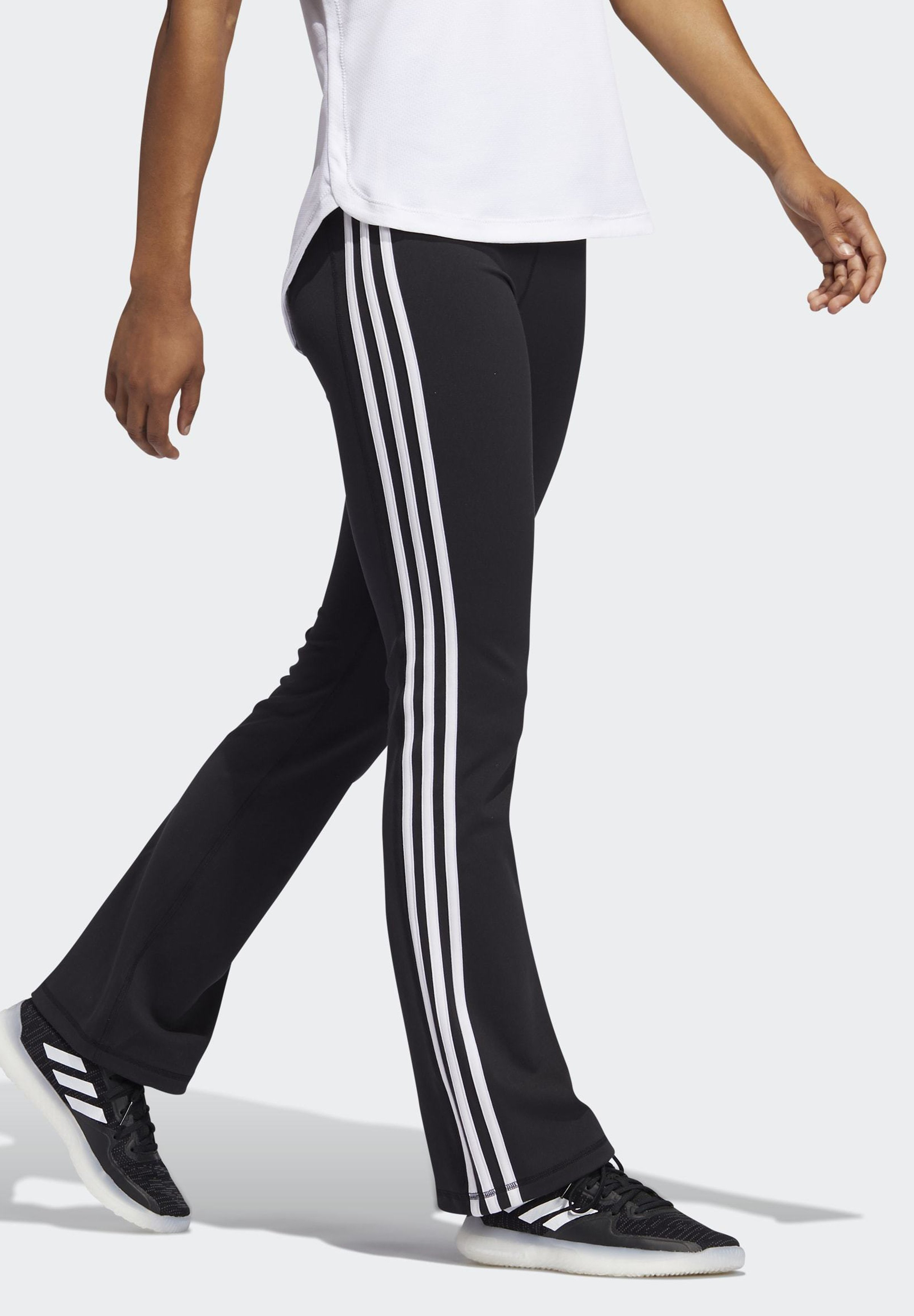 adidas Performance BRUSHED 3 STRIPES BOOTCUT JOGGERS