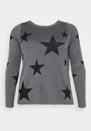 JRSANNE - Pullover - medium grey melange/black stars