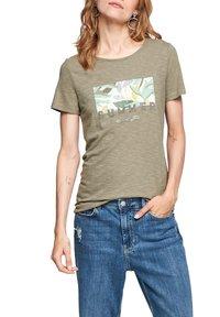 s.Oliver - Print T-shirt - summer khaki placed artwork - 0