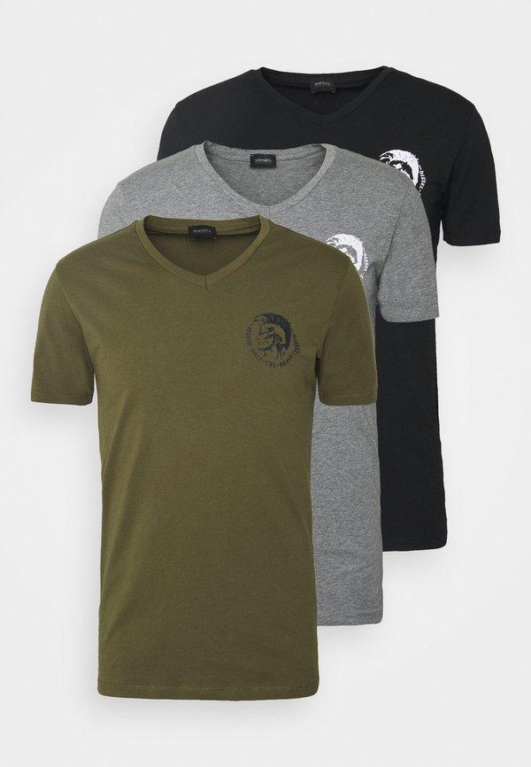 Diesel UMTEE MICHAEL 3 PACK - T-shirt z nadrukiem - olive/grey/black/oliwkowy Odzież Męska PMLP
