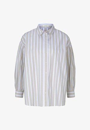 Button-down blouse - sand offwhite stripe