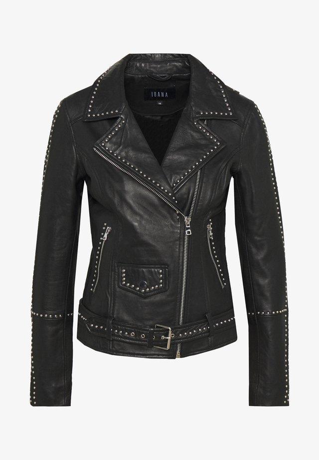 BARBARA - Veste en cuir - black