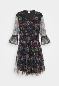 Vila - VIVERANDA PRINT V NECK 3/4 DRESS - Day dress - black/multi - 0
